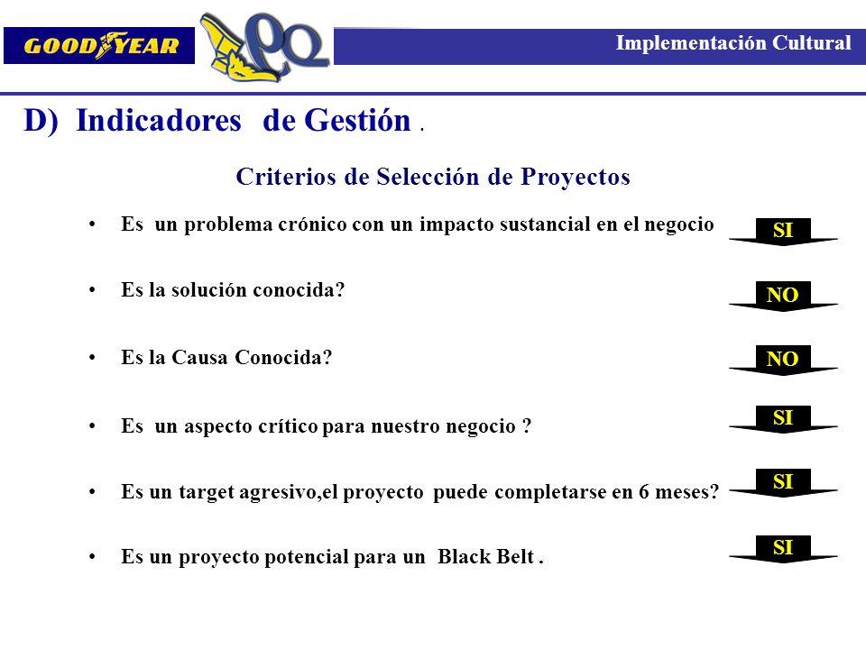 D) Indicadores de Gestión .