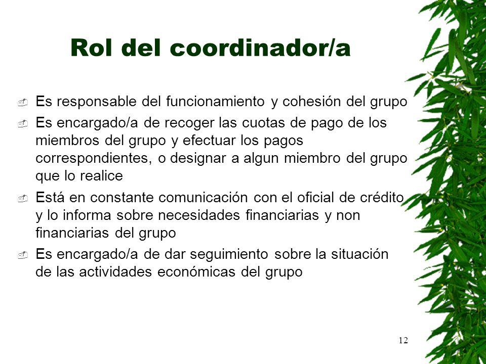 Rol del coordinador/a Es responsable del funcionamiento y cohesión del grupo.
