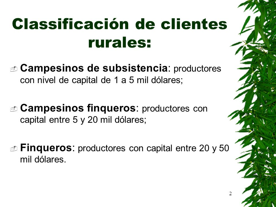 Classificación de clientes rurales: