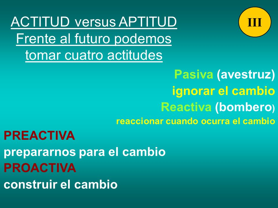 ACTITUD versus APTITUD Frente al futuro podemos tomar cuatro actitudes