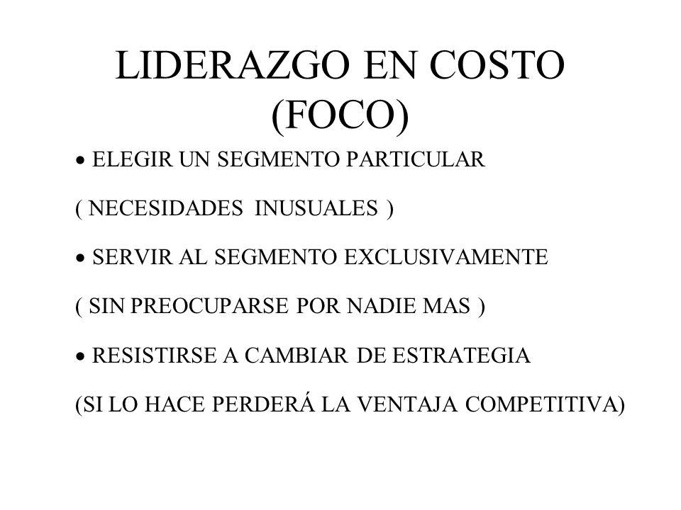 LIDERAZGO EN COSTO (FOCO)