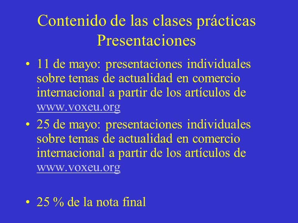 Contenido de las clases prácticas Presentaciones