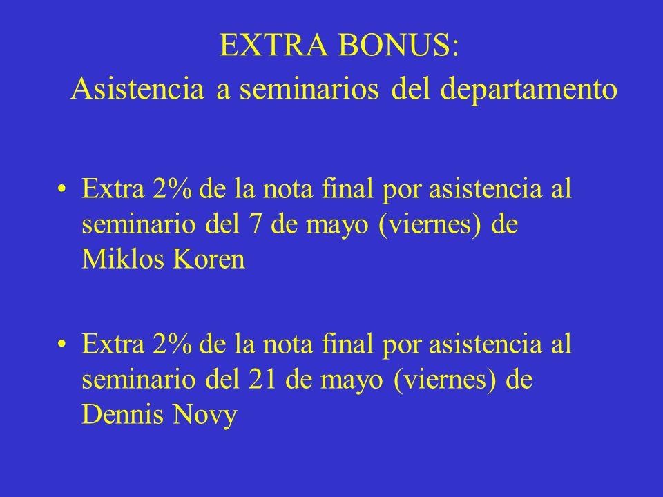 EXTRA BONUS: Asistencia a seminarios del departamento