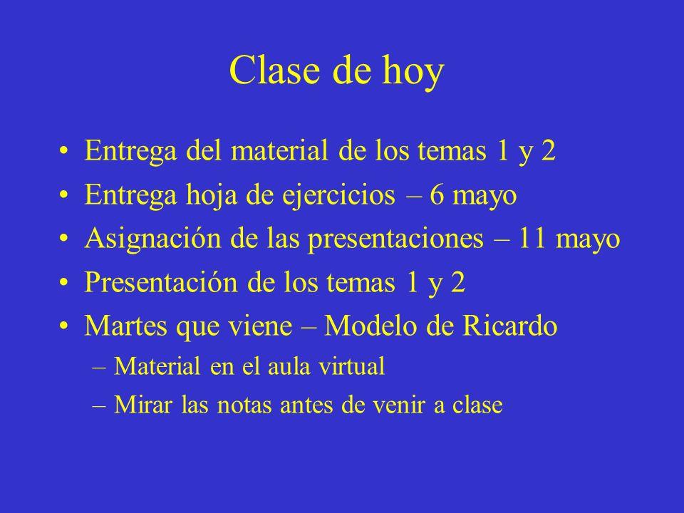 Clase de hoy Entrega del material de los temas 1 y 2