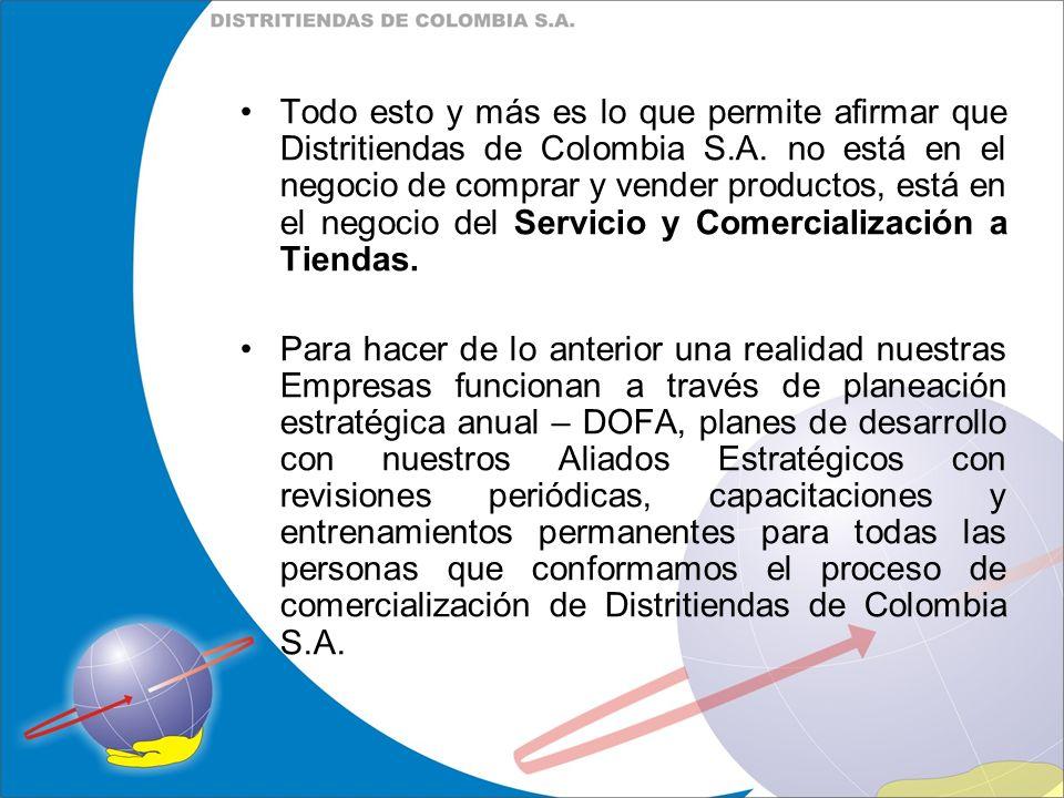 Todo esto y más es lo que permite afirmar que Distritiendas de Colombia S.A. no está en el negocio de comprar y vender productos, está en el negocio del Servicio y Comercialización a Tiendas.