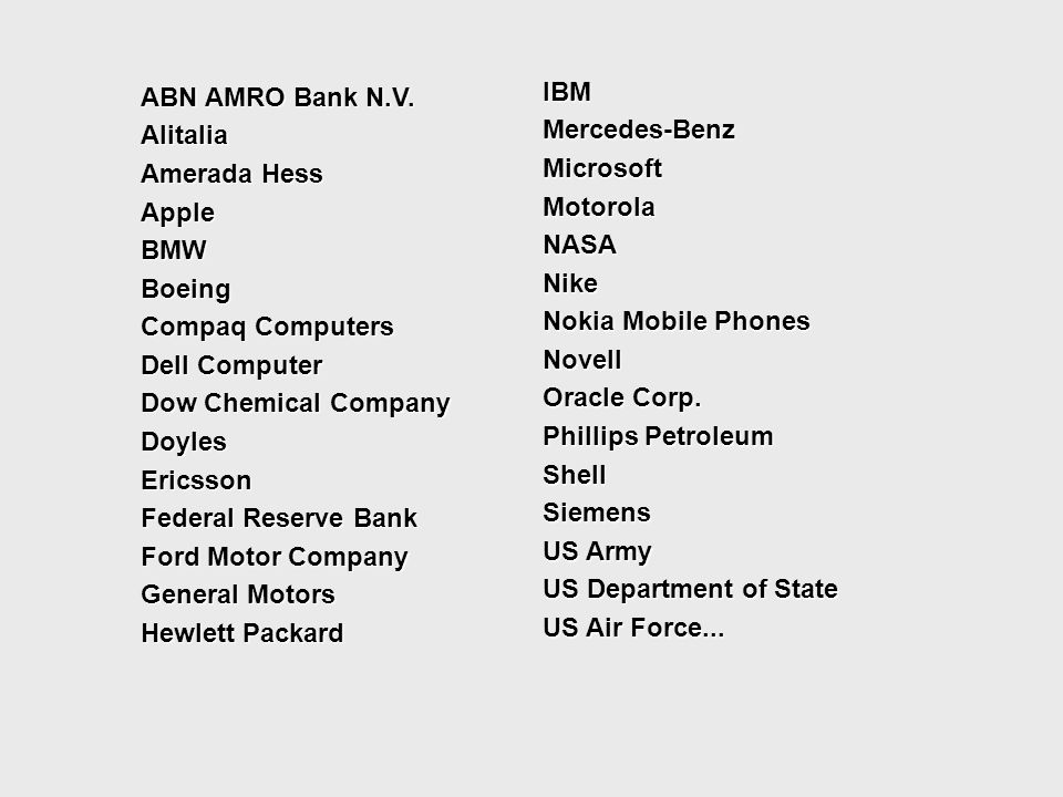 ABN AMRO Bank N.V. Alitalia Amerada Hess Apple BMW Boeing Compaq Computers Dell Computer Dow Chemical Company Doyles Ericsson Federal Reserve Bank Ford Motor Company General Motors Hewlett Packard