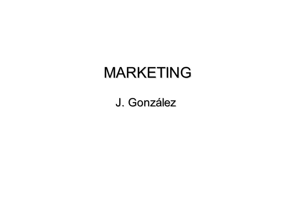 MARKETING J. González