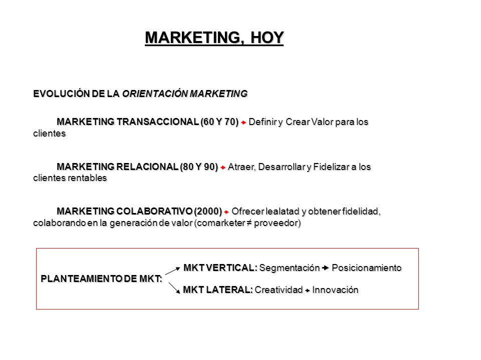 MARKETING, HOY EVOLUCIÓN DE LA ORIENTACIÓN MARKETING