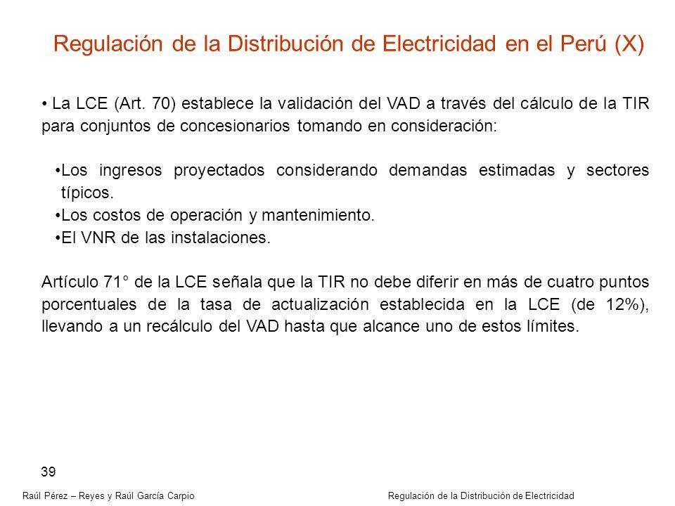 Regulación de la Distribución de Electricidad en el Perú (X)
