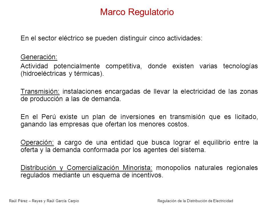 En el sector eléctrico se pueden distinguir cinco actividades: