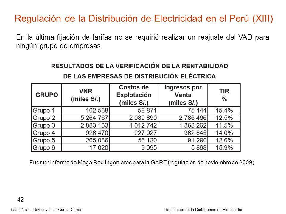 Regulación de la Distribución de Electricidad en el Perú (XIII)