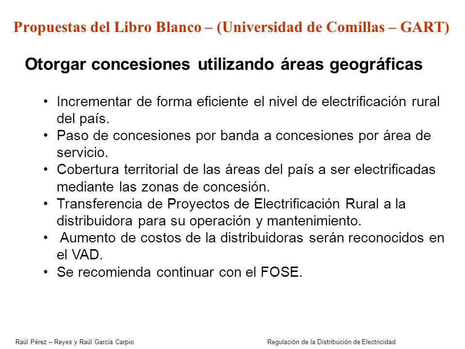 Otorgar concesiones utilizando áreas geográficas