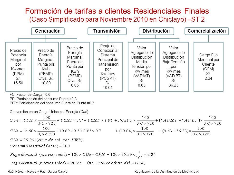 Formación de tarifas a clientes Residenciales Finales (Caso Simplificado para Noviembre 2010 en Chiclayo) –ST 2