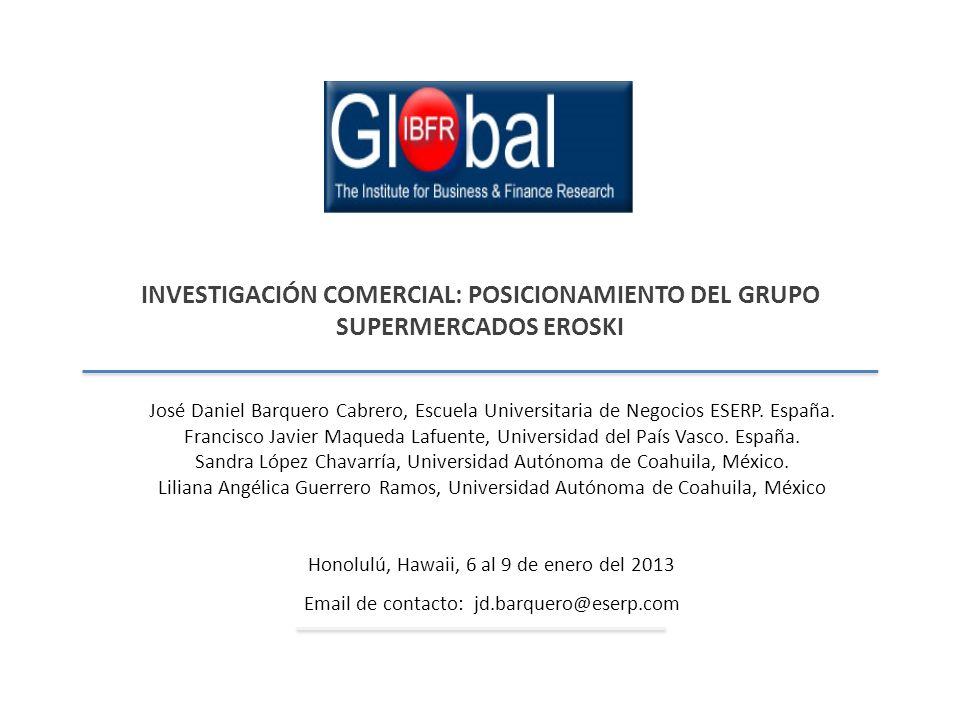 INVESTIGACIÓN COMERCIAL: POSICIONAMIENTO DEL GRUPO SUPERMERCADOS EROSKI