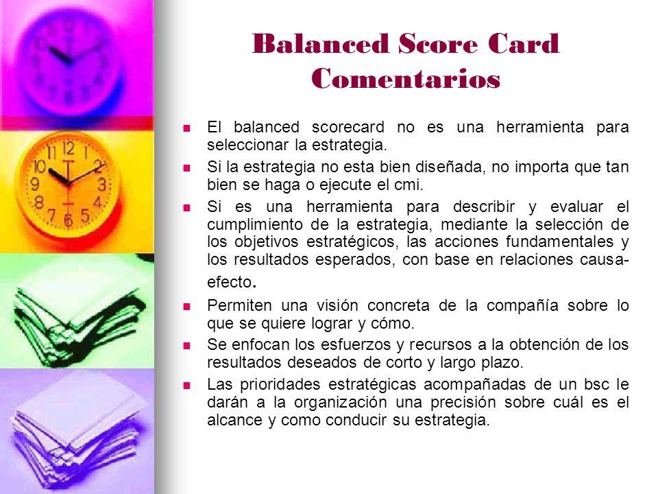 Balanced Score Card Comentarios