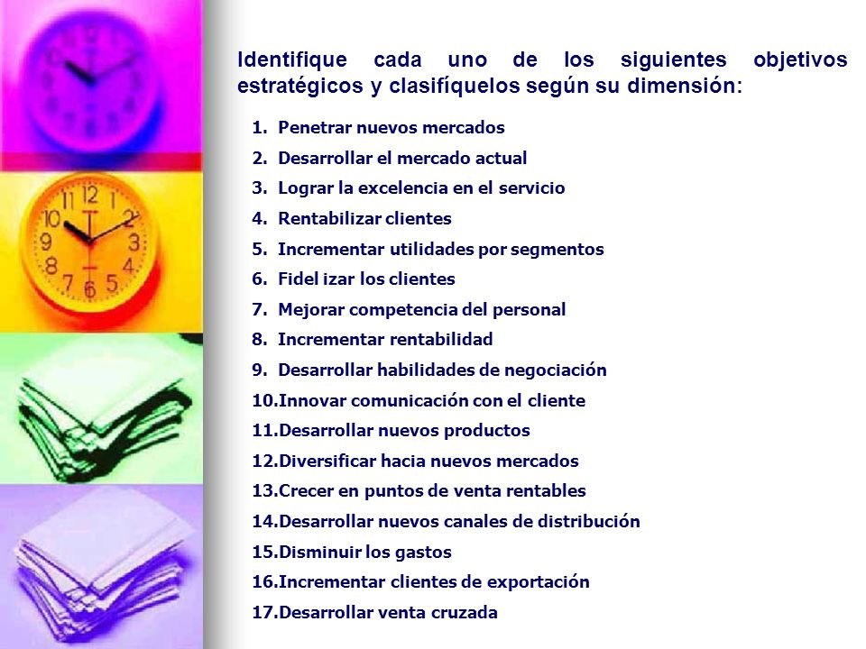 Identifique cada uno de los siguientes objetivos estratégicos y clasifíquelos según su dimensión: