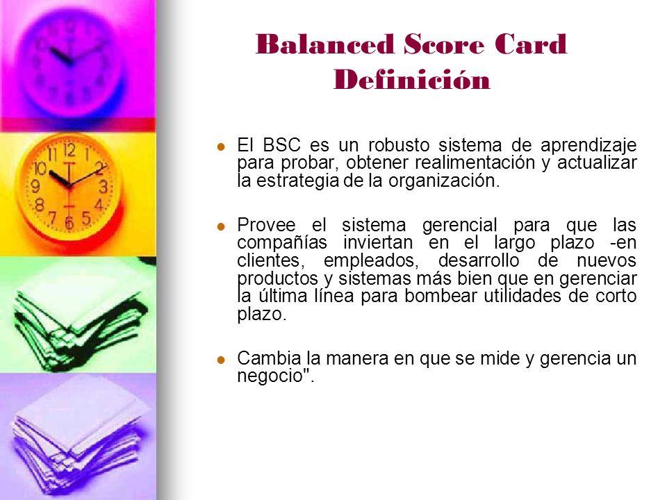Balanced Score Card Definición