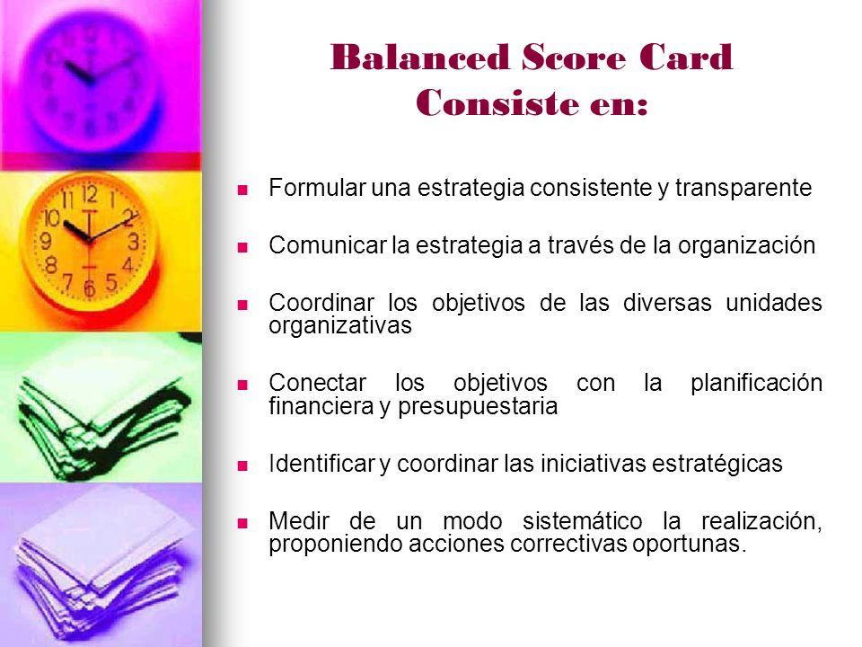 Balanced Score Card Consiste en: