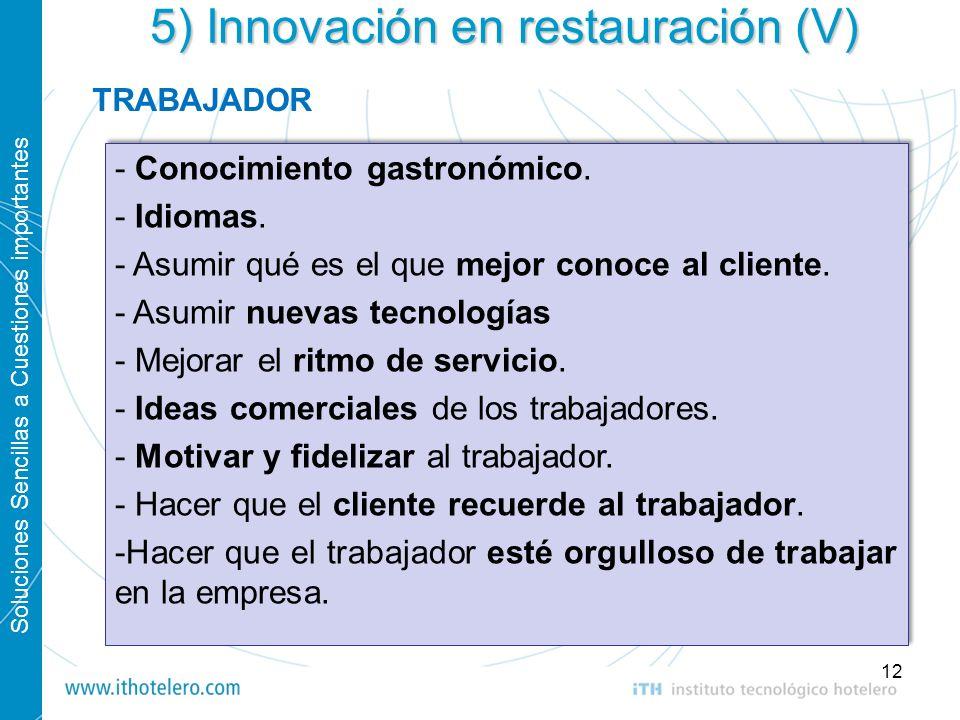 5) Innovación en restauración (V)