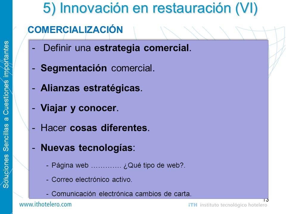 5) Innovación en restauración (VI)