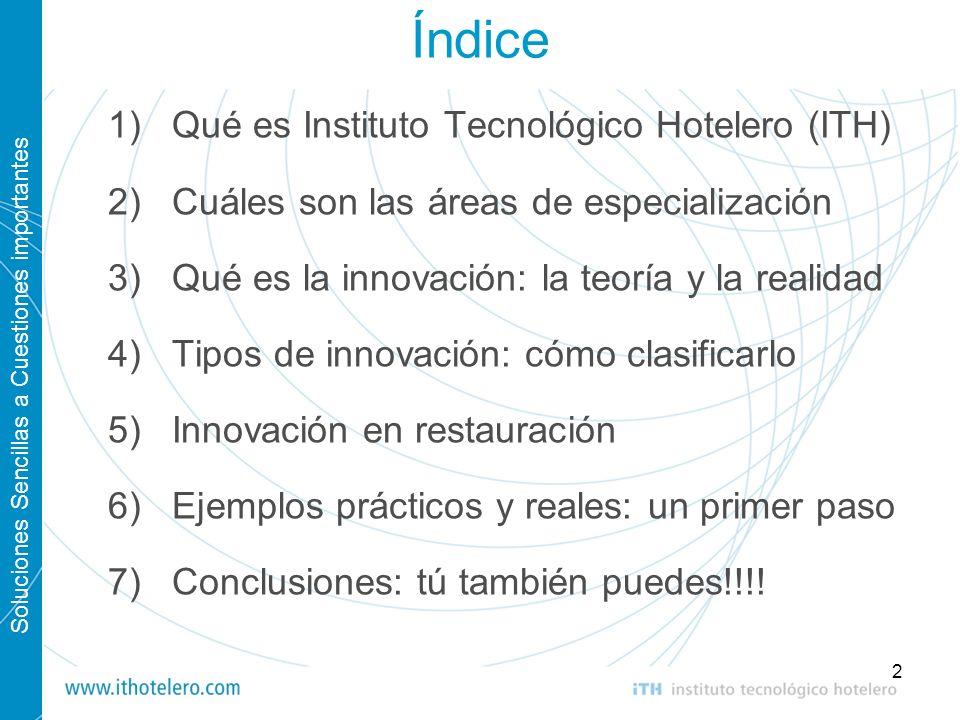 Índice Qué es Instituto Tecnológico Hotelero (ITH)