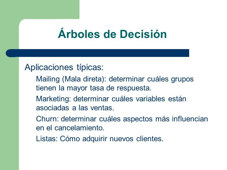 Árboles de Decisión Aplicaciones típicas: