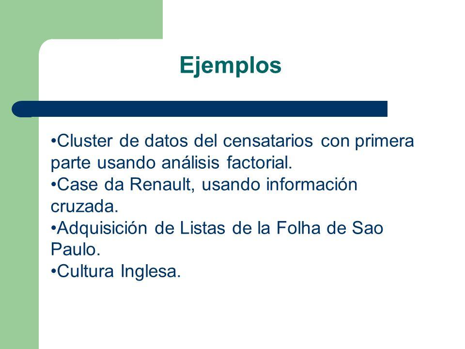 Ejemplos Cluster de datos del censatarios con primera parte usando análisis factorial. Case da Renault, usando información cruzada.