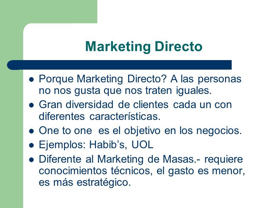 Marketing Directo Porque Marketing Directo A las personas no nos gusta que nos traten iguales.