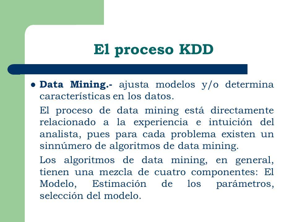 El proceso KDD Data Mining.- ajusta modelos y/o determina características en los datos.