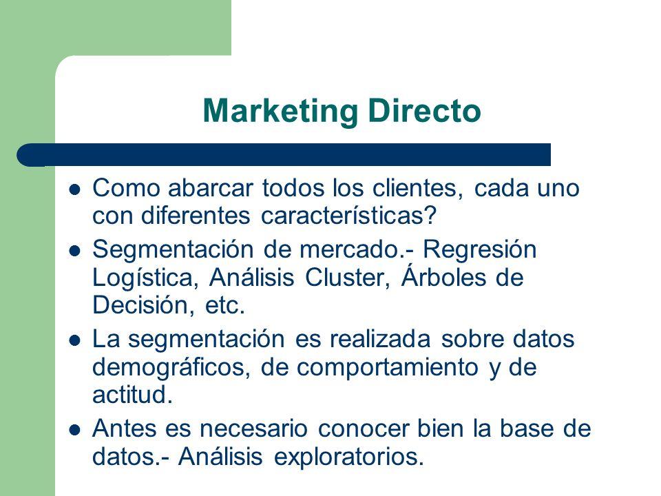 Marketing Directo Como abarcar todos los clientes, cada uno con diferentes características