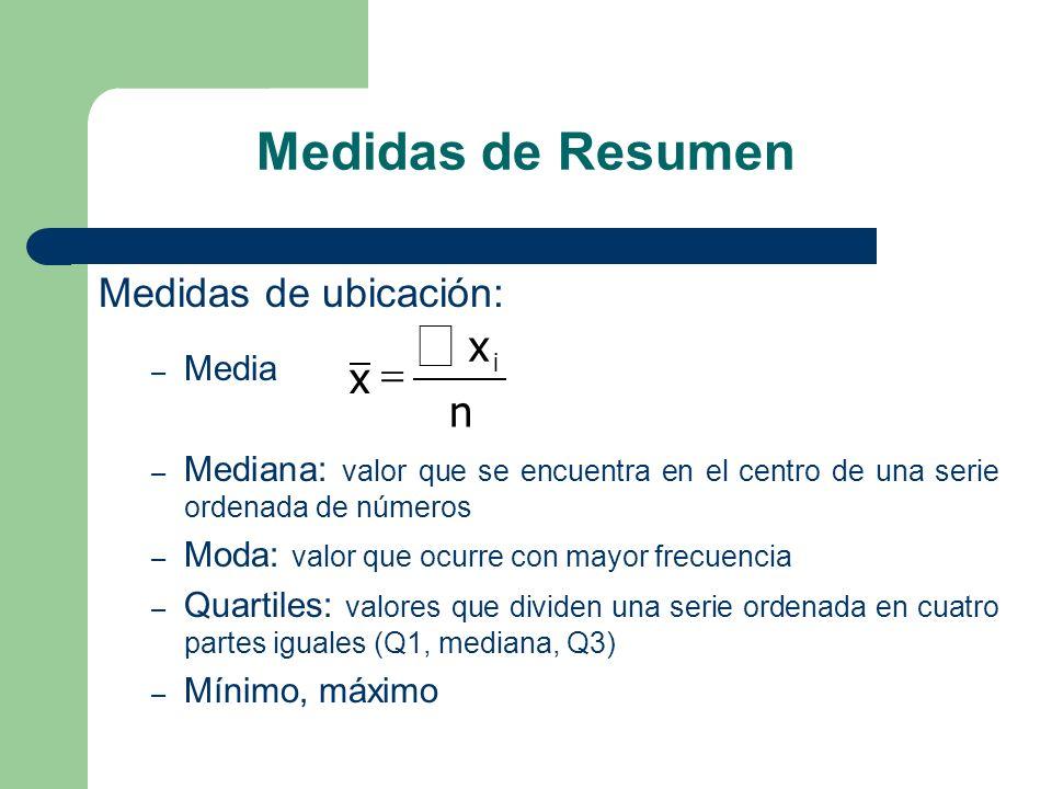å Medidas de Resumen x = n Medidas de ubicación: Media