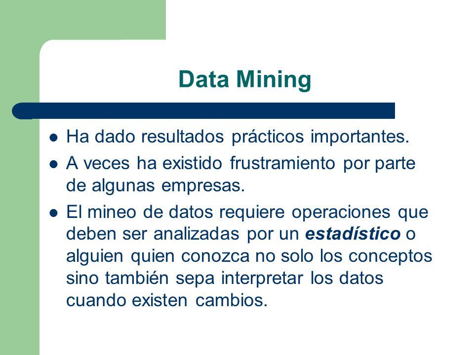 Data Mining Ha dado resultados prácticos importantes.