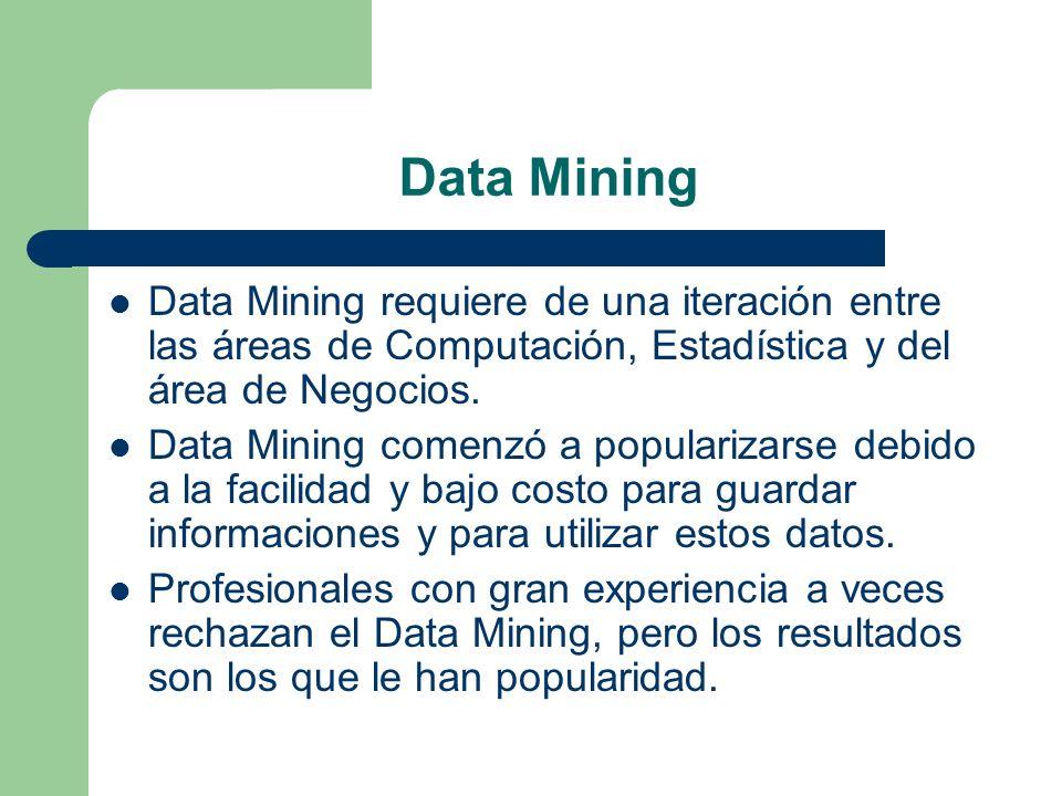 Data Mining Data Mining requiere de una iteración entre las áreas de Computación, Estadística y del área de Negocios.