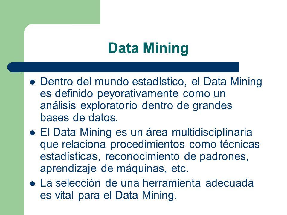 Data Mining Dentro del mundo estadístico, el Data Mining es definido peyorativamente como un análisis exploratorio dentro de grandes bases de datos.