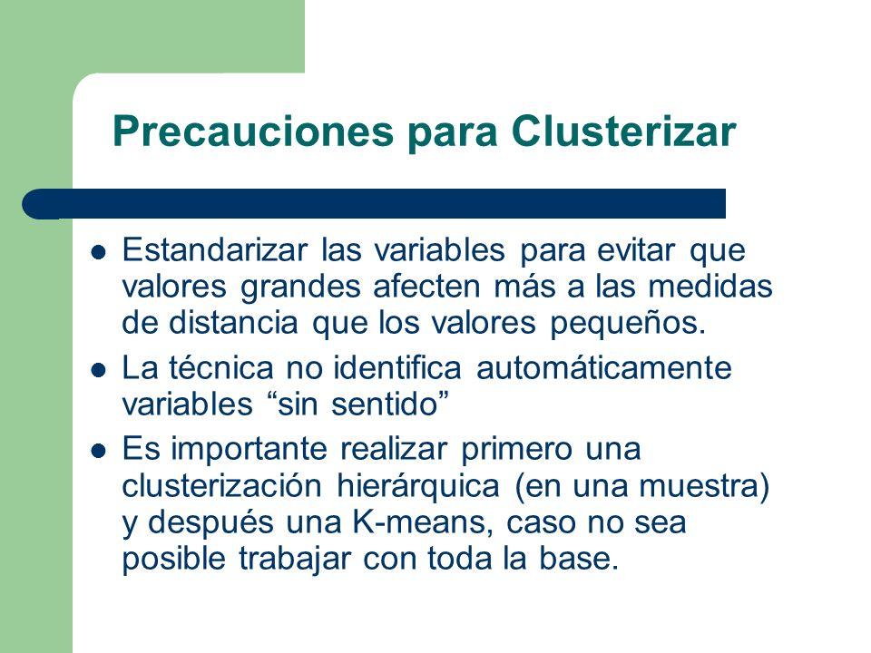 Precauciones para Clusterizar