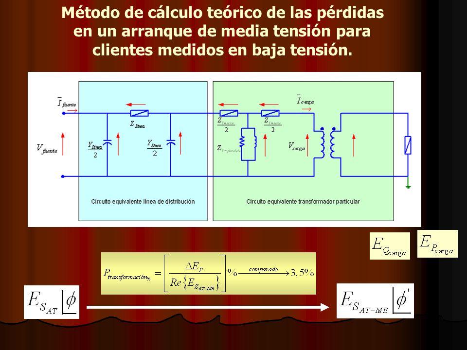 Método de cálculo teórico de las pérdidas en un arranque de media tensión para clientes medidos en baja tensión.