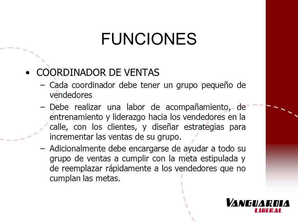 FUNCIONES COORDINADOR DE VENTAS