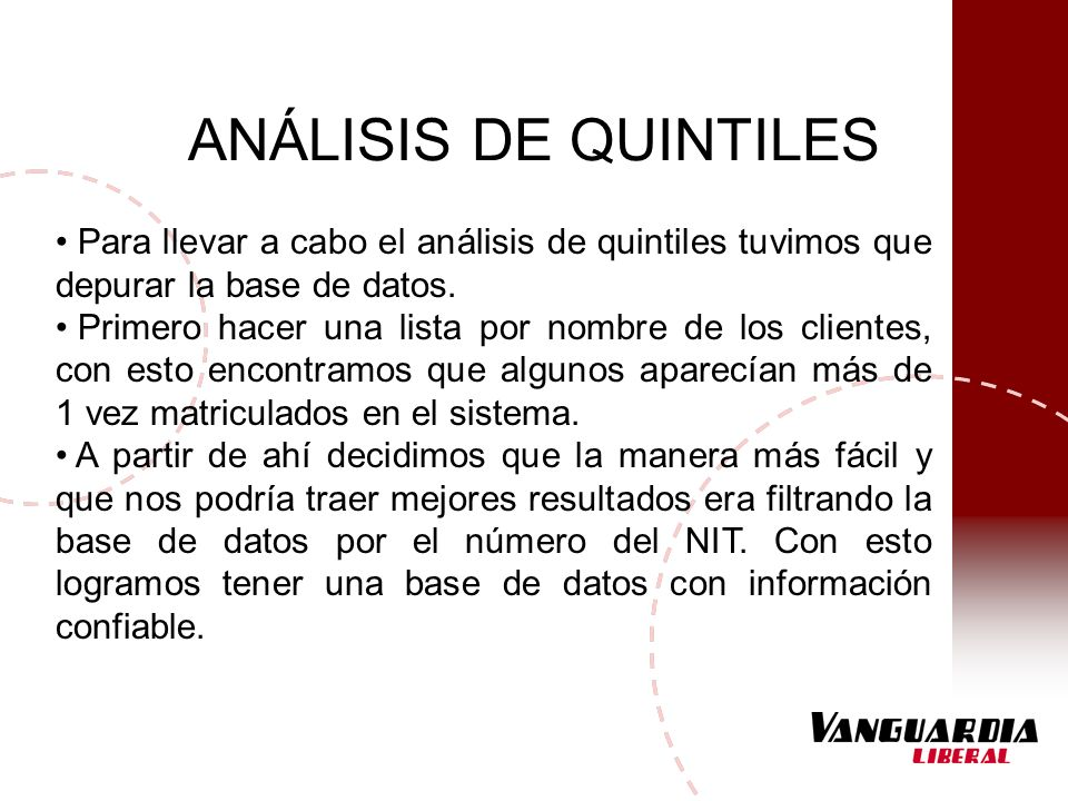 ANÁLISIS DE QUINTILES Para llevar a cabo el análisis de quintiles tuvimos que depurar la base de datos.
