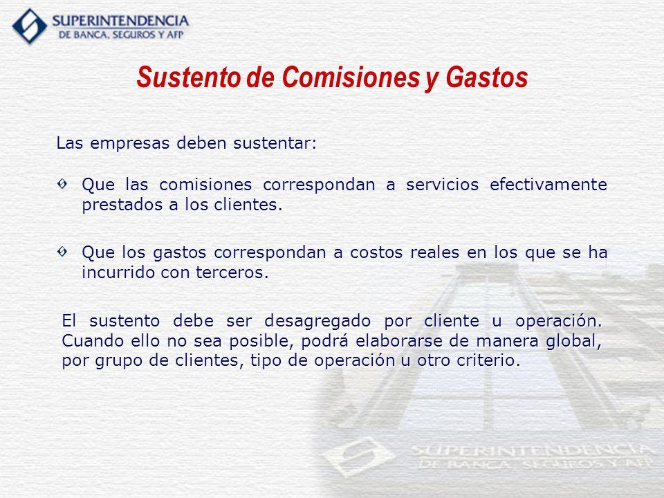 Sustento de Comisiones y Gastos