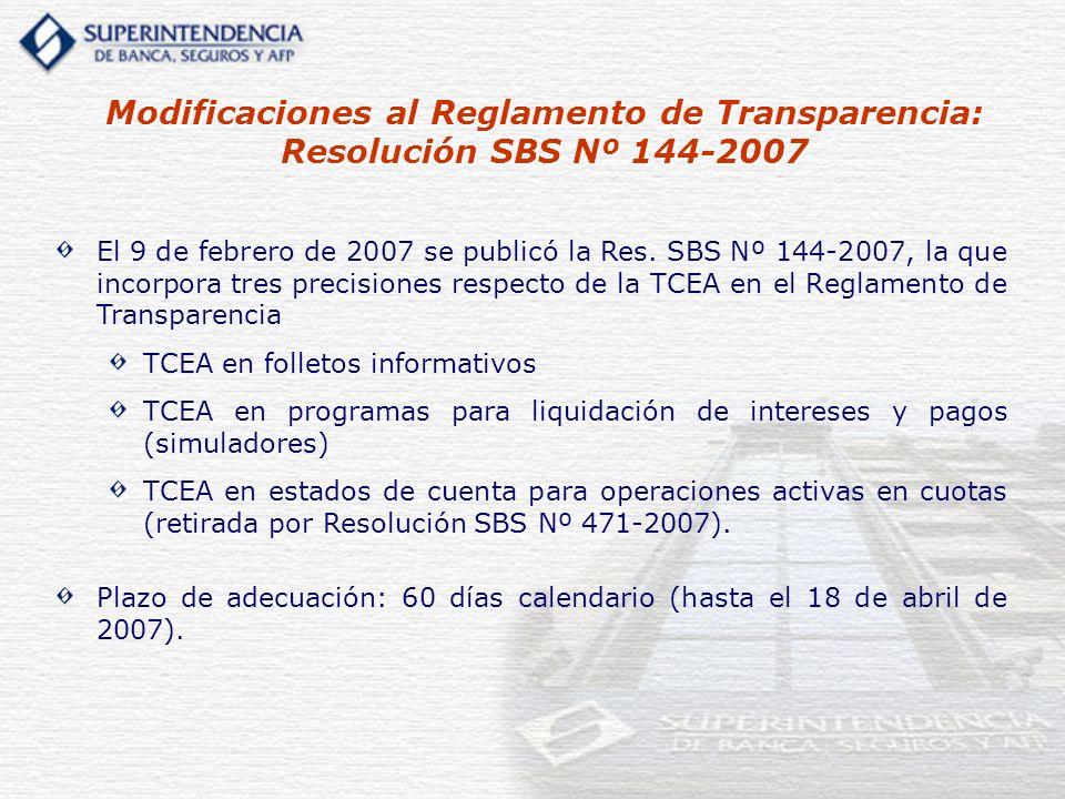 Modificaciones al Reglamento de Transparencia: Resolución SBS Nº 144-2007