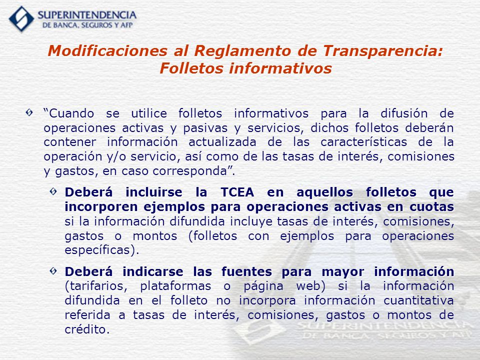 Modificaciones al Reglamento de Transparencia: Folletos informativos