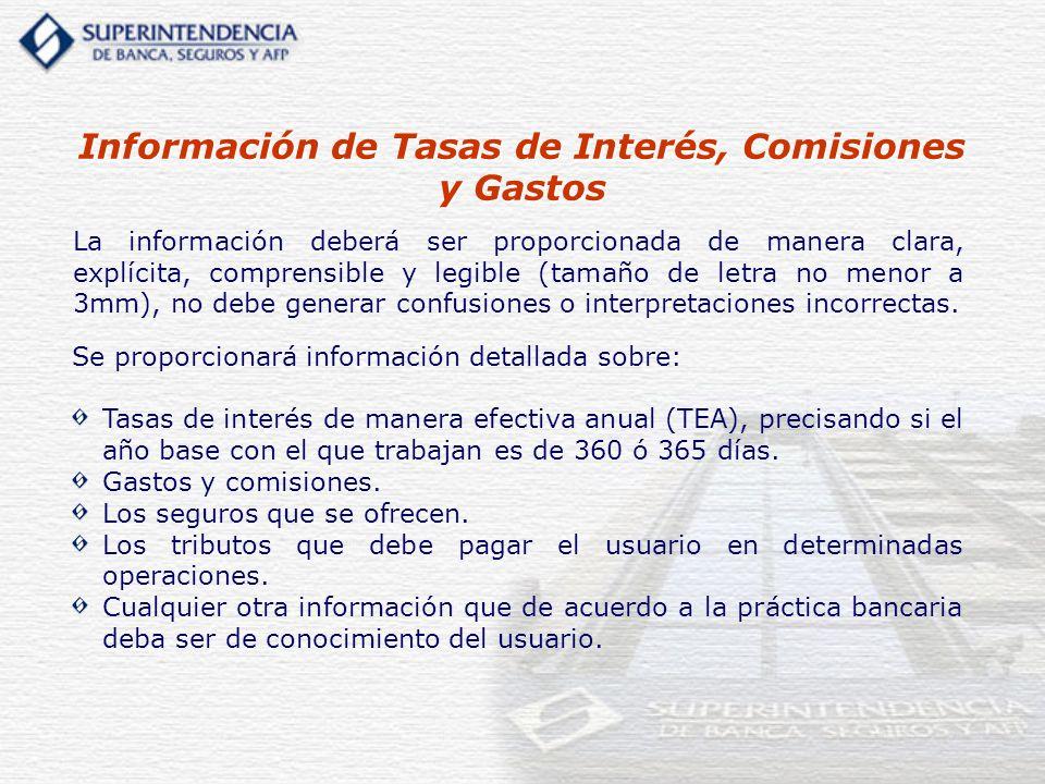 Información de Tasas de Interés, Comisiones y Gastos