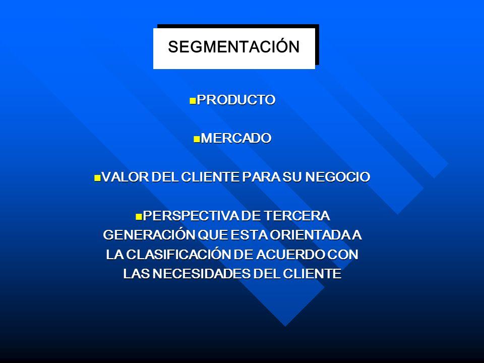 SEGMENTACIÓN PRODUCTO MERCADO VALOR DEL CLIENTE PARA SU NEGOCIO