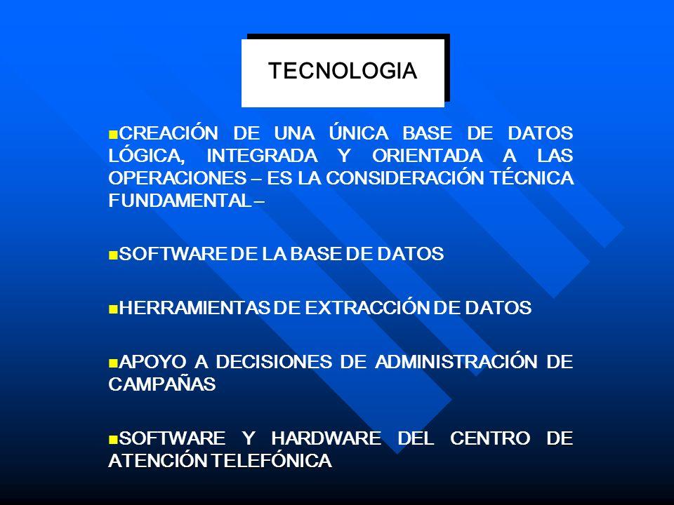 TECNOLOGIA CREACIÓN DE UNA ÚNICA BASE DE DATOS LÓGICA, INTEGRADA Y ORIENTADA A LAS OPERACIONES – ES LA CONSIDERACIÓN TÉCNICA FUNDAMENTAL –