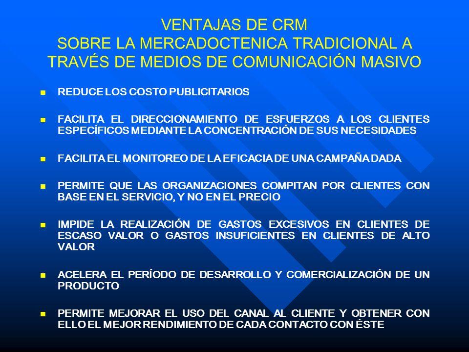 VENTAJAS DE CRM SOBRE LA MERCADOCTENICA TRADICIONAL A TRAVÉS DE MEDIOS DE COMUNICACIÓN MASIVO