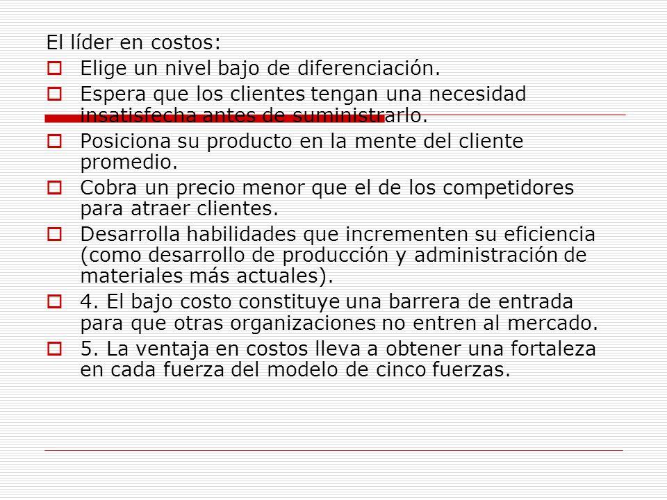 El líder en costos: Elige un nivel bajo de diferenciación. Espera que los clientes tengan una necesidad insatisfecha antes de suministrarlo.