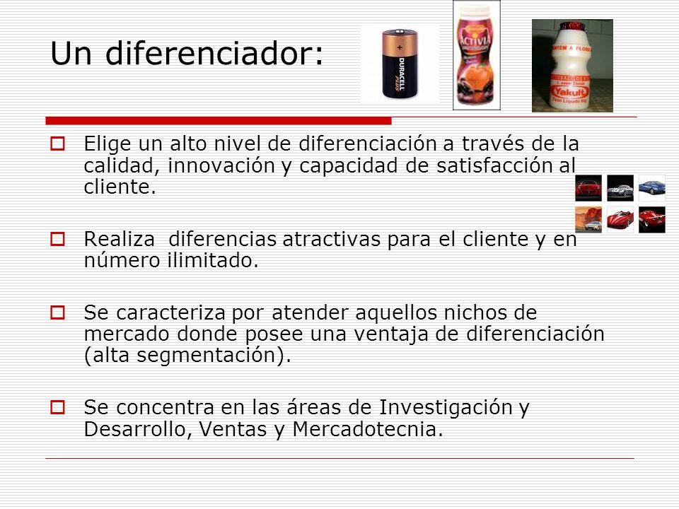 Un diferenciador: Elige un alto nivel de diferenciación a través de la calidad, innovación y capacidad de satisfacción al cliente.