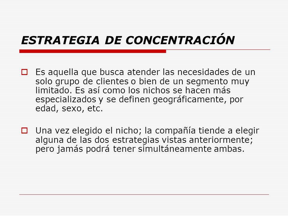 ESTRATEGIA DE CONCENTRACIÓN
