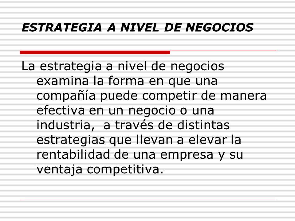 ESTRATEGIA A NIVEL DE NEGOCIOS