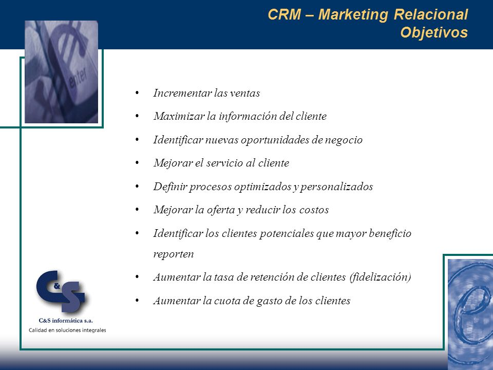 CRM – Marketing Relacional Objetivos